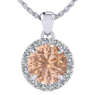 1 Carat Round Shape Morganite and Halo Diamond Necklace In 14 Karat White Gold