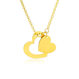 Adjustable Floating Double Heart Necklace In 14K Yellow Gold, 16-18 Inches