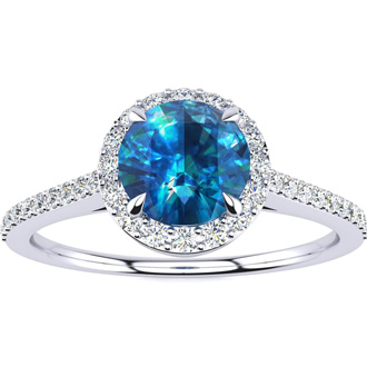 1 Carat Blue Diamond Halo Engagement Ring in 14k White Gold