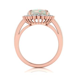 4 Carat Opal and Diamond Ballerina Ring In 14 Karat Rose Gold