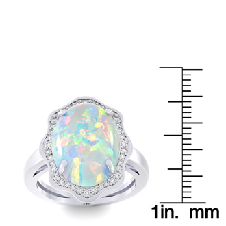 5 Carat Opal and Halo Diamond Ring In 14 Karat White Gold