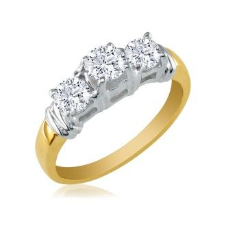 1/4ct Three Diamond Ring in 14k Two Tone Gold with Fancy Trim