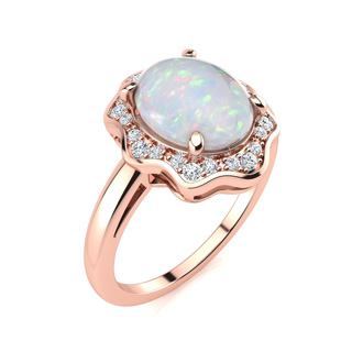 1.66 Carat Opal and Halo Diamond Ring In 14 Karat Rose Gold
