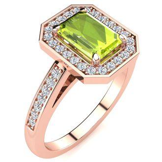 1 1/3 Carat Emerald Shape Peridot and Halo Diamond Ring In 14 Karat Rose Gold