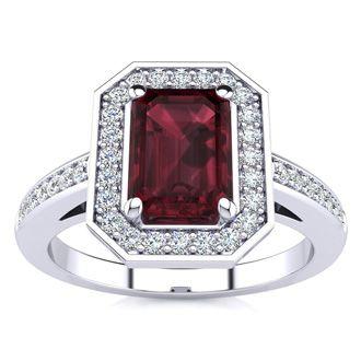 1 1/2 Carat Emerald Shape Garnet and Halo Diamond Ring In 14 Karat White Gold