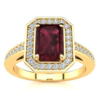 1 1/2 Carat Garnet and Halo Diamond Ring In 14 Karat Yellow Gold