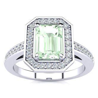 1 Carat Emerald Shape Green Amethyst and Halo Diamond Ring In 14 Karat White Gold