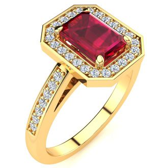 1 1/4 Carat Ruby and Halo Diamond Ring In 14 Karat Yellow Gold