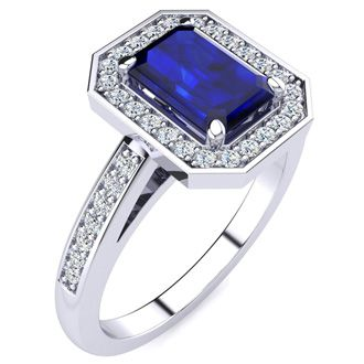 1 1/3 Carat Emerald Shape Sapphire and Halo Diamond Ring In 14 Karat White Gold