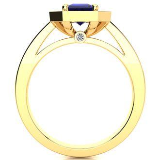 1 1/3 Carat Emerald Shape Sapphire and Halo Diamond Ring In 14 Karat Yellow Gold