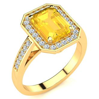 2 Carat Emerald Shape Citrine and Halo Diamond Ring In 14 Karat Yellow Gold
