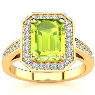 2 Carat Emerald Shape Peridot and Halo Diamond Ring In 14 Karat Yellow Gold
