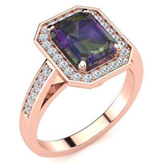 2 Carat Emerald Shape Mystic Topaz and Halo Diamond Ring In 14 Karat Rose Gold