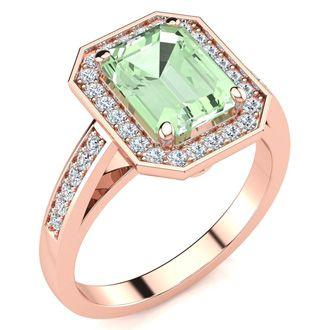 2 Carat Emerald Shape Green Amethyst and Halo Diamond Ring In 14 Karat Rose Gold