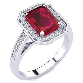 2 1/2 Carat Ruby and Halo Diamond Ring In 14 Karat White Gold
