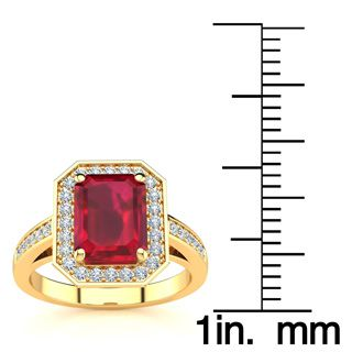 2 1/2 Carat Emerald Shape Ruby and Halo Diamond Ring In 14 Karat Yellow Gold