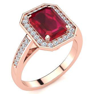 2 1/2 Carat Ruby and Halo Diamond Ring In 14 Karat Rose Gold