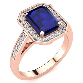 2 1/2 Carat Emerald Shape Sapphire and Halo Diamond Ring In 14 Karat Rose Gold