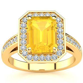 2 1/2 Carat Emerald Shape Citrine and Halo Diamond Ring In 14 Karat Yellow Gold