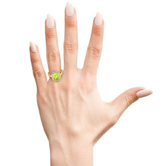 3 Carat Emerald Shape Peridot and Halo Diamond Ring In 14 Karat Yellow Gold