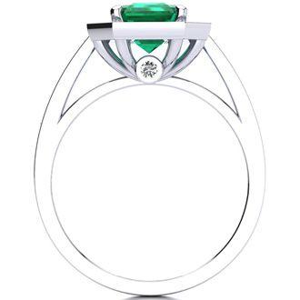 2 1/2 Carat Emerald Shape Emerald and Halo Diamond Ring In 14 Karat White Gold