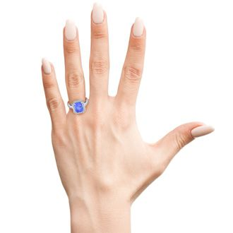 3 Carat Emerald Shape Tanzanite and Halo Diamond Ring In 14 Karat White Gold