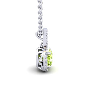 1 1/4 Carat Cushion Cut Peridot and Halo Diamond Necklace In 14 Karat White Gold, 18 Inches