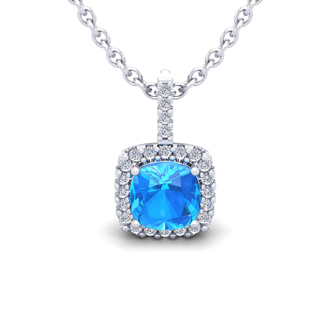 1 1/4 Carat Cushion Cut Blue Topaz and Halo Diamond Necklace In 14 Karat White Gold, 18 Inches