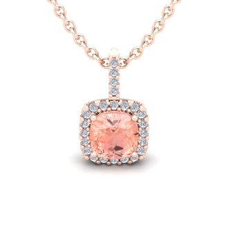 1 Carat Cushion Cut Morganite and Halo Diamond Necklace In 14 Karat Rose Gold, 18 Inches