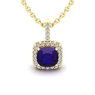 1 3/4 Carat Cushion Cut Amethyst and Halo Diamond Necklace In 14 Karat Yellow Gold, 18 Inches