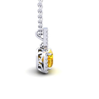 1 3/4 Carat Cushion Cut Citrine and Halo Diamond Necklace In 14 Karat White Gold, 18 Inches