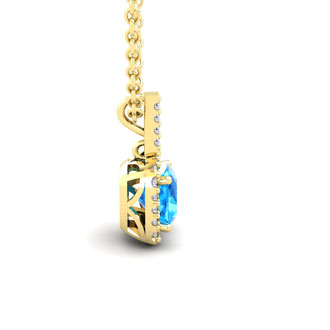 2 Carat Cushion Cut Blue Topaz and Halo Diamond Necklace In 14 Karat Yellow Gold, 18 Inches