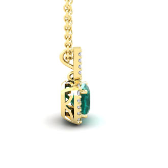 2 Carat Cushion Cut Emerald and Halo Diamond Necklace In 14 Karat Yellow Gold, 18 Inches