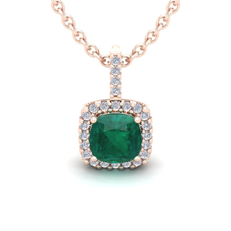 2 Carat Cushion Cut Emerald and Halo Diamond Necklace In 14 Karat Rose Gold, 18 Inches
