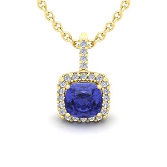 1 3/4 Carat Cushion Cut Tanzanite and Halo Diamond Necklace In 14 Karat Yellow Gold, 18 Inches
