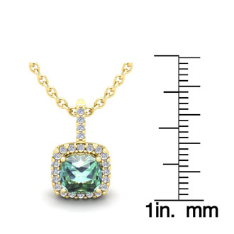1 1/2 Carat Cushion Cut Green Amethyst and Halo Diamond Necklace In 14 Karat Yellow Gold, 18 Inches