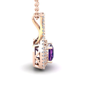 1 Carat Cushion Cut Amethyst and Double Halo Diamond Necklace In 14 Karat Rose Gold, 18 Inches