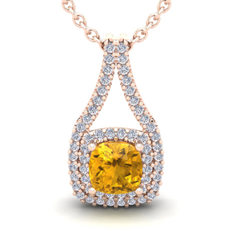 1 Carat Cushion Cut Citrine and Double Halo Diamond Necklace In 14 Karat Rose Gold, 18 Inches