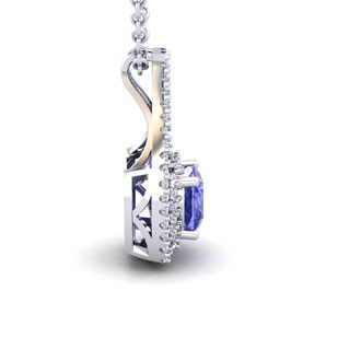 1 1/3 Carat Cushion Cut Tanzanite and Double Halo Diamond Necklace In 14 Karat White Gold, 18 Inches