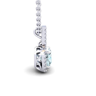 2 1/2 Carat Cushion Cut Aquamarine and Halo Diamond Necklace In 14 Karat White Gold, 18 Inches