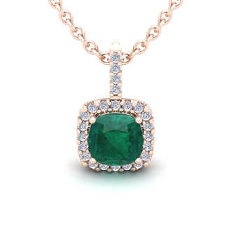 2 1/2 Carat Cushion Cut Emerald and Halo Diamond Necklace In 14 Karat Rose Gold, 18 Inches