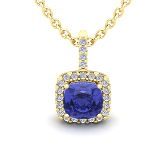 3 Carat Cushion Cut Tanzanite and Halo Diamond Necklace In 14 Karat Yellow Gold, 18 Inches