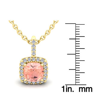 3 1/2 Carat Cushion Cut Morganite and Halo Diamond Necklace In 14 Karat Yellow Gold, 18 Inches