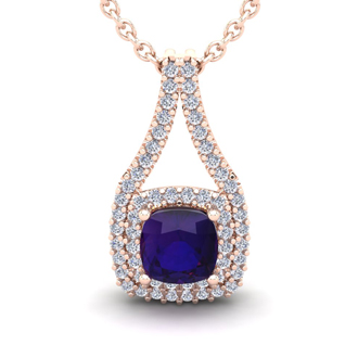 2 Carat Cushion Cut Amethyst and Double Halo Diamond Necklace In 14 Karat Rose Gold, 18 Inches