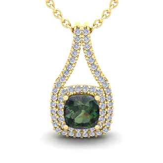 2 1/3 Carat Cushion Cut Mystic Topaz and Double Halo Diamond Necklace In 14 Karat Yellow Gold, 18 Inches