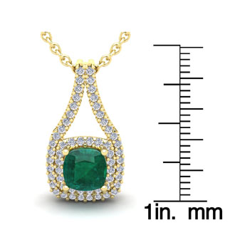 2 Carat Cushion Cut Emerald and Double Halo Diamond Necklace In 14 Karat Yellow Gold, 18 Inches