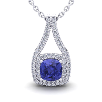 2 Carat Cushion Cut Tanzanite and Double Halo Diamond Necklace In 14 Karat White Gold, 18 Inches