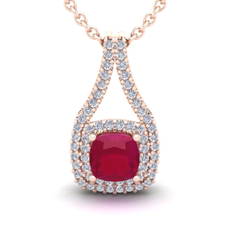2 1/3 Carat Cushion Cut Ruby and Double Halo Diamond Necklace In 14 Karat Rose Gold, 18 Inches