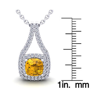 2 3/4 Carat Cushion Cut Citrine and Double Halo Diamond Necklace In 14 Karat White Gold, 18 Inches