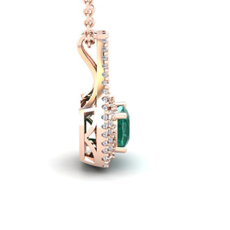 2 3/4 Carat Cushion Cut Emerald and Double Halo Diamond Necklace In 14 Karat Rose Gold, 18 Inches